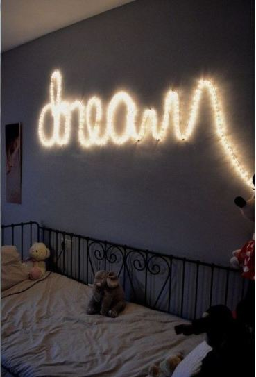 Word lights are pretty ways to decorate your dorm room!
