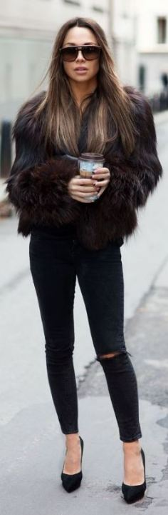 Fur coats are a great way to make simple outfits into edgy outfits!