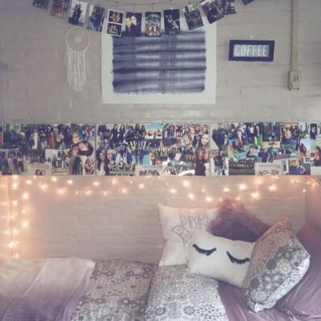 This grey dorm bedding creates such a cute dorm room!