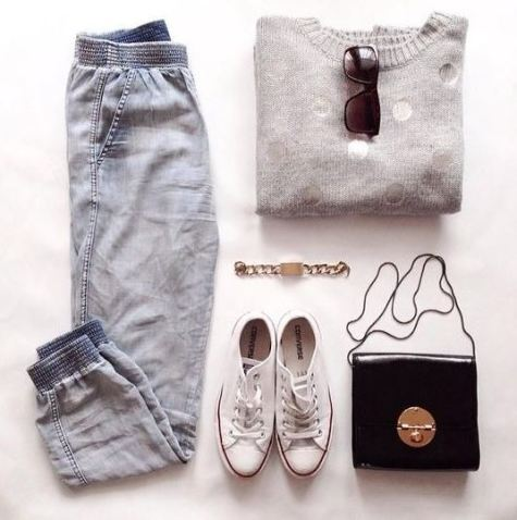 Joggers are awesome for putting together cute outfits for class for school!
