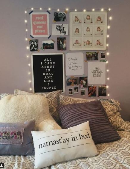 String lights are an easy way to decorate your dorm room on a budget!