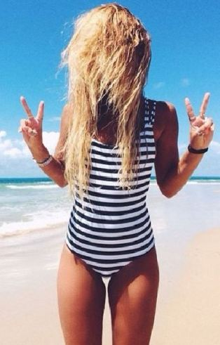 This is such a cute striped one piece swimsuit!