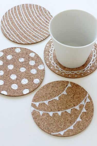 Decorative coasters are a great DIY dorm room decor idea!