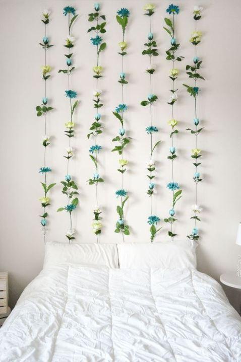 A flower wall is a great DIY dorm room decor idea!