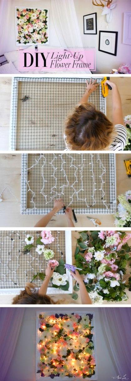 A light-up flower frame is a great DIY dorm room decor idea!