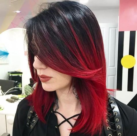 Red is really bold and pretty for brunette ombre hairstyles!