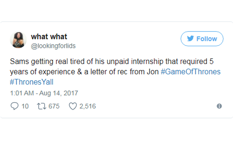 If you're a GOT fan like me, here are some of the best and very funny live Game Of Thrones tweets from this week's episode, Eastwatch!