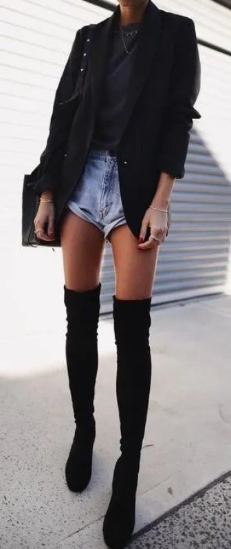 The blazer makes for a sophisticated thigh high boots outfit!