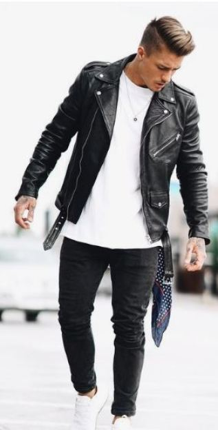 There's so many leather jacket outfits for men! I love this plain look