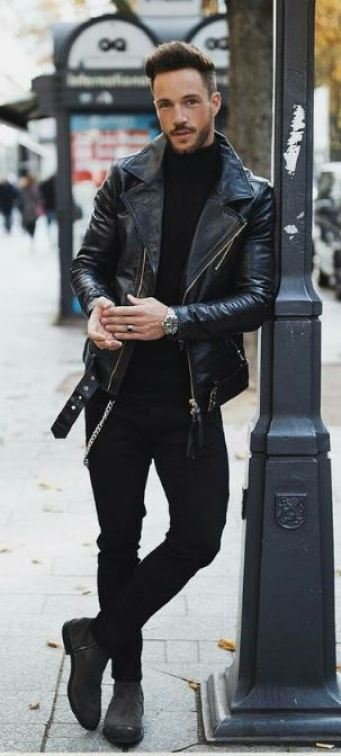 All black is the perfect leather jacket outfit look for men!