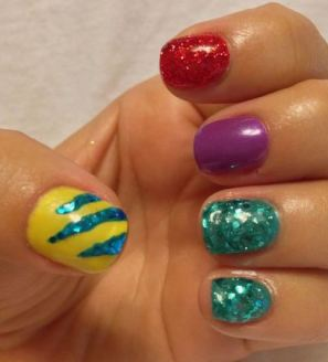 This little mermaid nail art is great Halloween nail art.