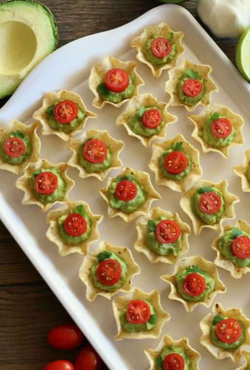 These guac cups are a great Christmas appetizer recipe!