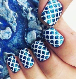 This mermaid nail design is a cute Halloween nail art design.