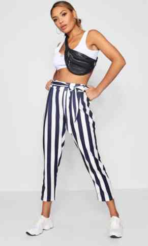 These are the cutest white and blue high waisted striped pants!