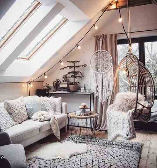 white boho cozy living room decor