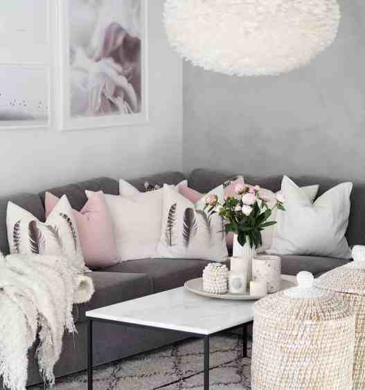 white, grey and pink cozy living room decor