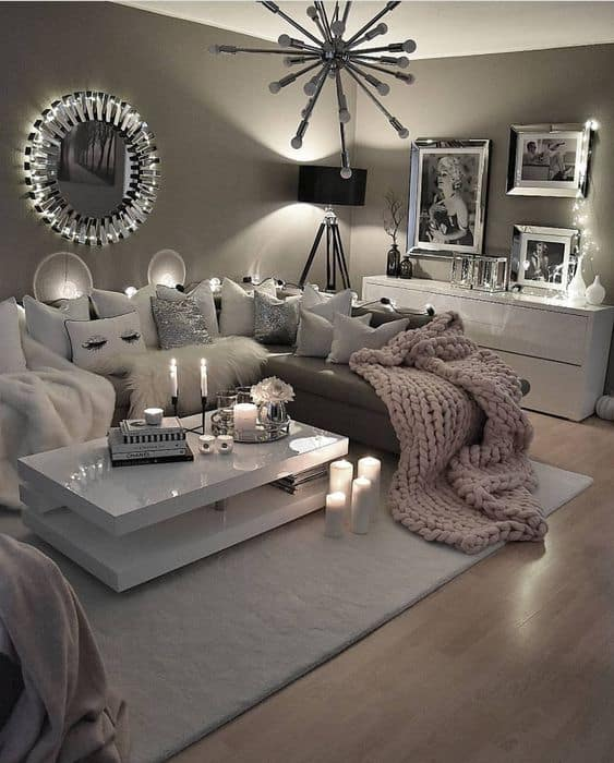 Grey modern and cozy living room decor