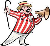 Cartoon of a circus barker