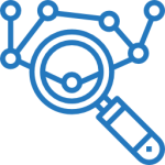 icono de investigación de mercados con datos científicos