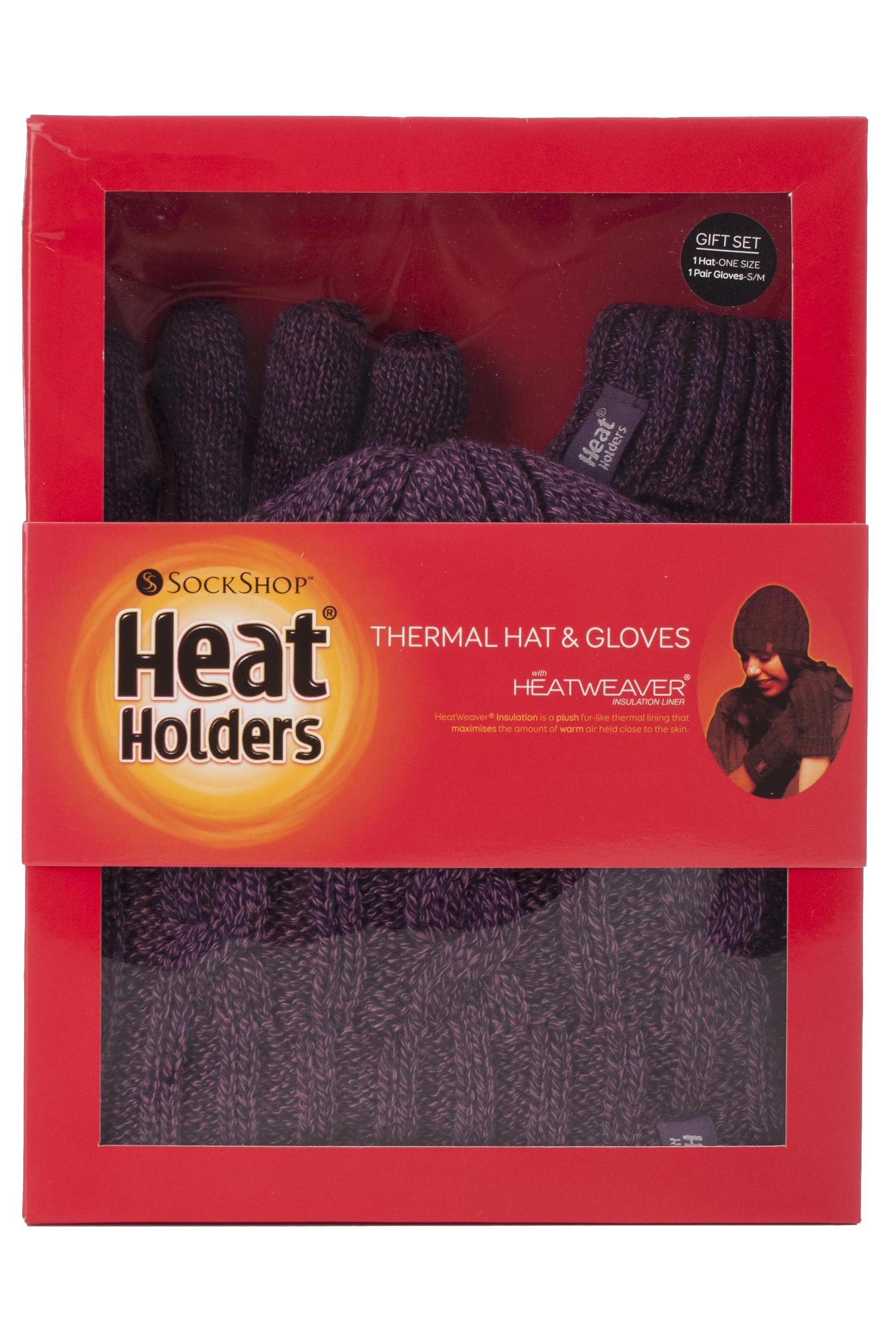 Ladies 2 Pack Heat Holders Gift Boxed Hat And Gloves Set Purple S m ... a4516ffef2dc