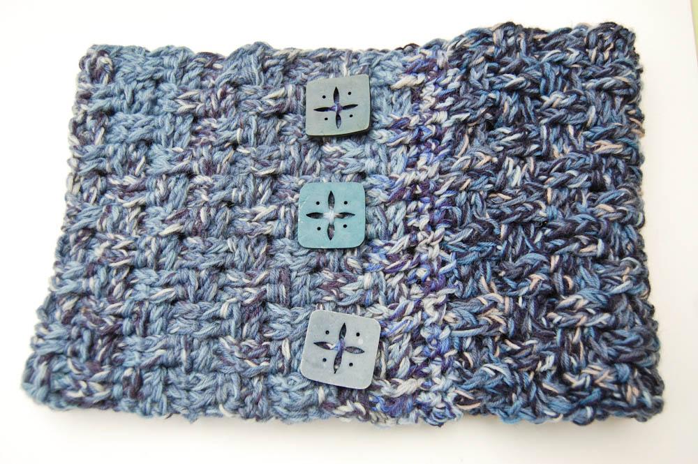 Loop häkeln aus Wollresten  Anleitung: Loop häkeln im Korbmuster aus Wollresten