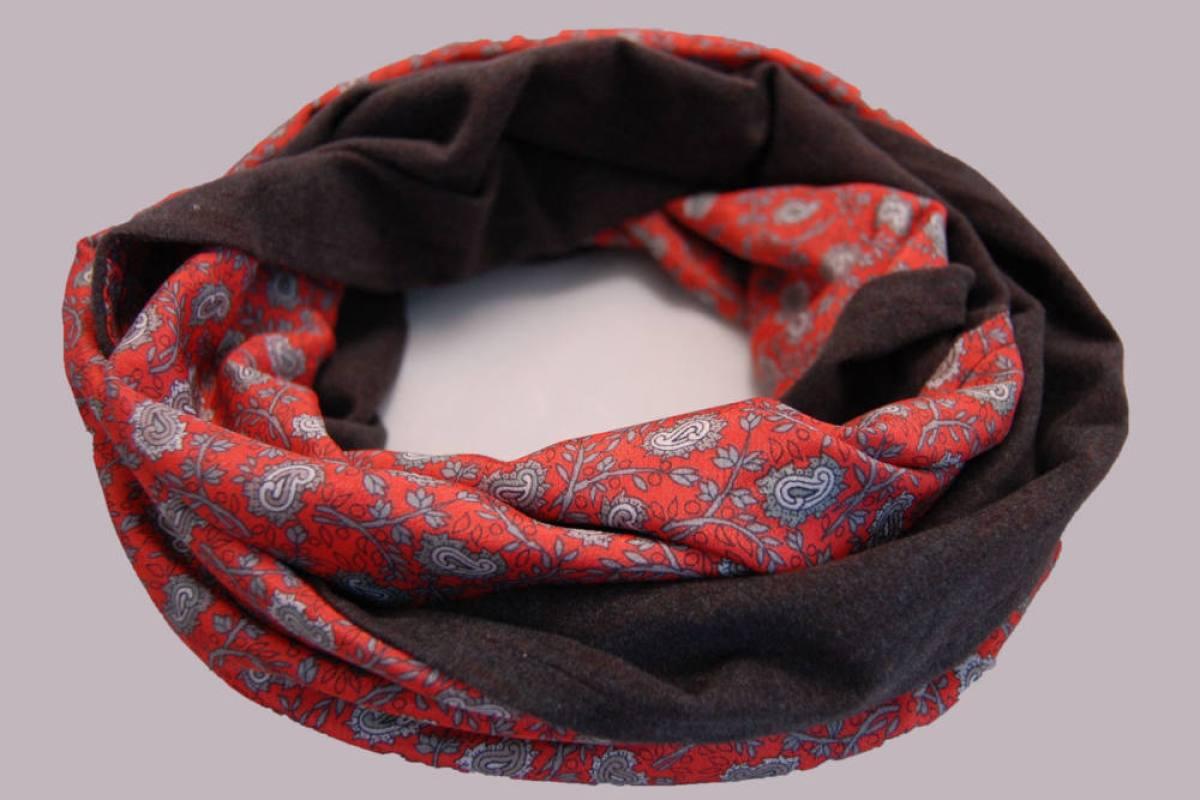 Loop-Schal nähen - rot-grau  Anleitung: Loop-Schal nähen