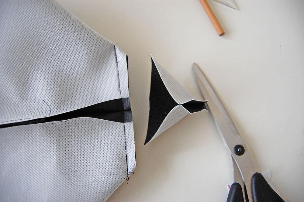 Rucksack nähen - Ecke wird abgeschnitten  Anleitung: Schicken Rucksack nähen - Basismodell