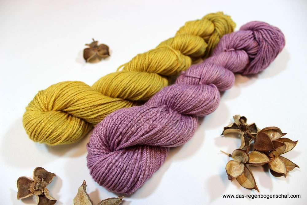 Das Regenbogenschaf - Wolle Senfgelb - Altrosa