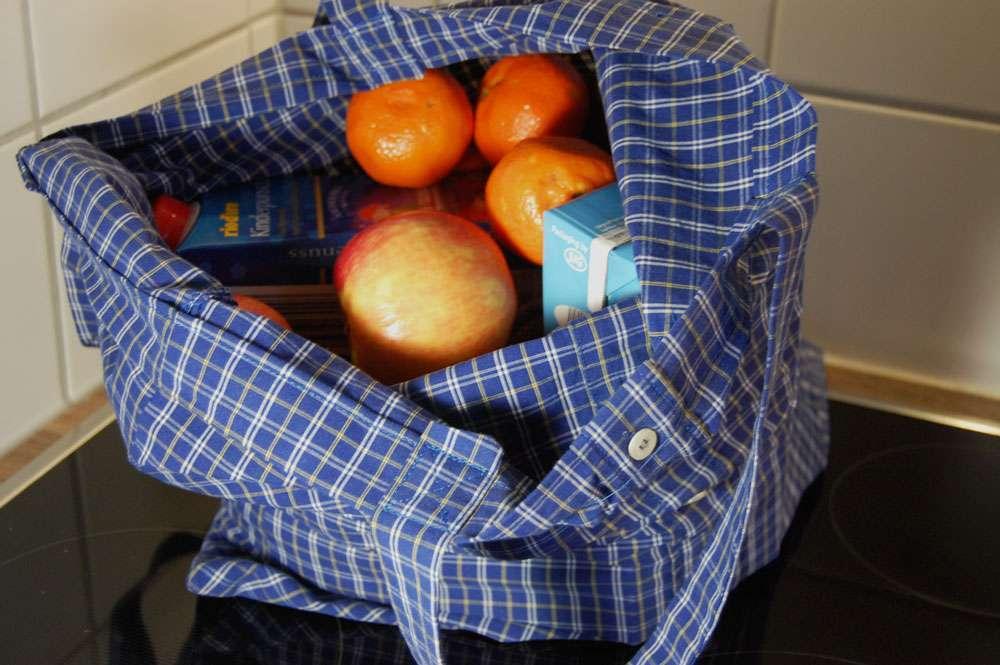 Stoffbeutel nähen aus Oberhemd - gefüllter Stoffbeutel2 stoffbeutel nähen Nähanleitung: Stoffbeutel nähen aus einem Oberhemd