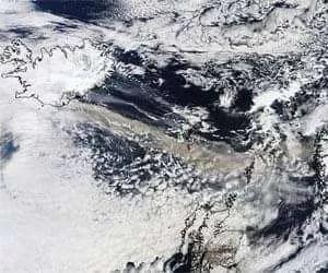 The MODIS instrument on NASA's Terra satellite captured an Ash plume from Eyjafjallajokull Volcano over the North Atlantic at 11:35 UTC (7:35 a.m. EDT) on April 15, 2010. Credit: NASA/MODIS Rapid Response Team.