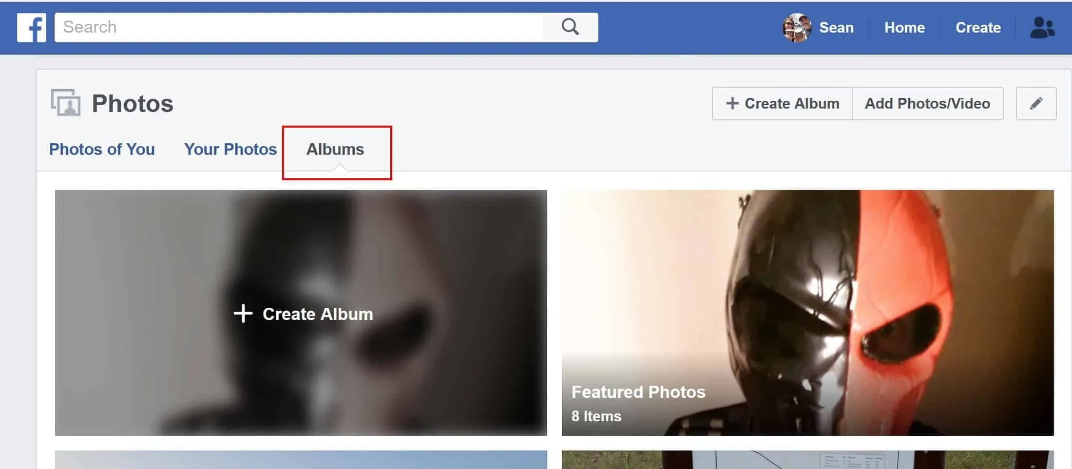The albums section of your photos on Facebook