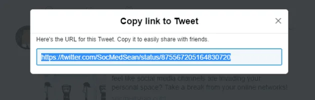 Step 3 in posting a tweet to Facebook is copying the URL of the tweet