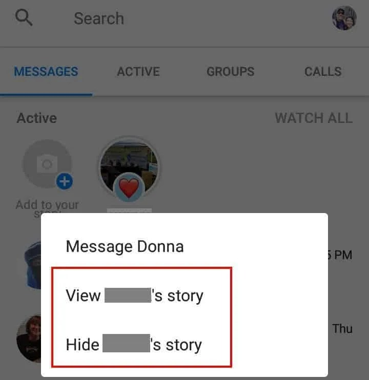 An unwatched Facebook story will now trigger a Messenger unread message notification