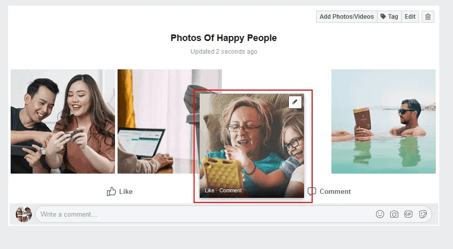 Facebook group admins can rearrange their photos within an album by dragging and dropping them