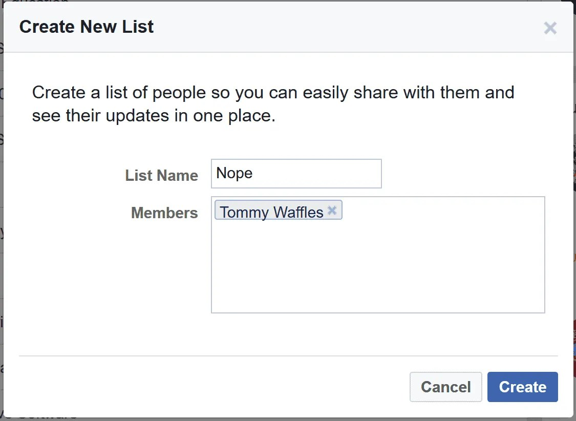 Create a list of people who aren't going to see your Facebook status updates