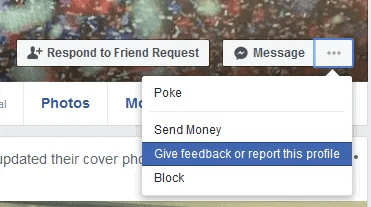 Click the Message menu and choose to report this fake Facebook profile