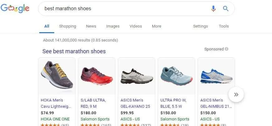 General searches like best marathon shoes can have high cost-per-click rates