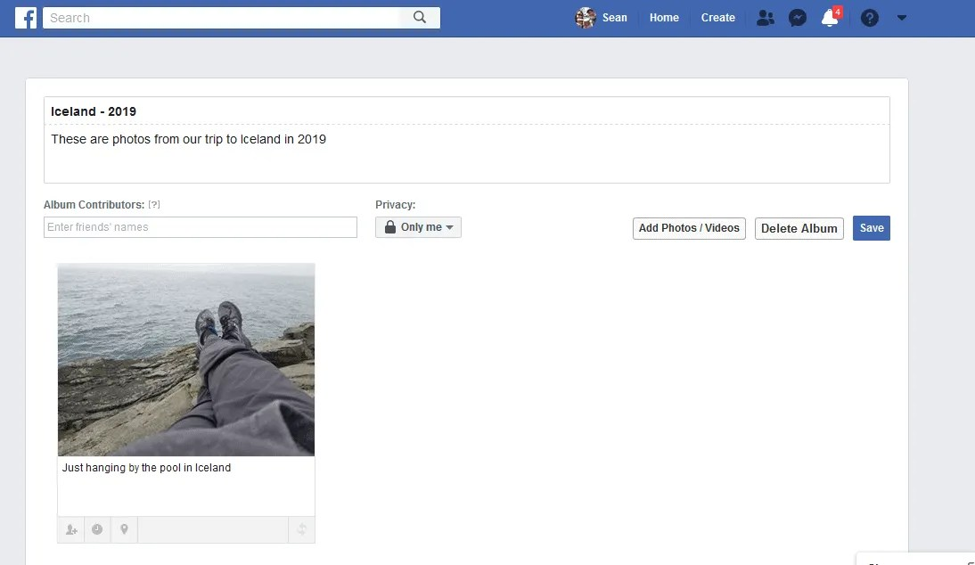 From the Facebook album edit page, you can change the name of a Facebook photo album, update the description or even edit the photo details