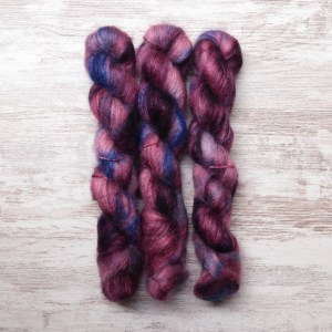 skeins of hand dyed yarn
