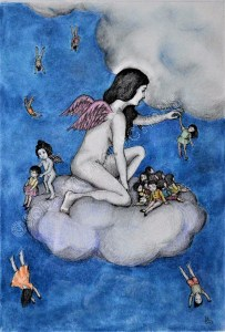 Get off of my cloud, (29,7x42cm), ink, graphite and pastel