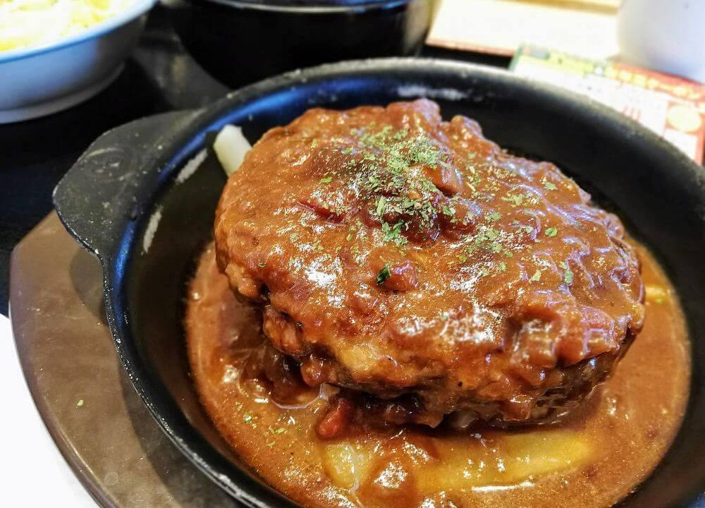 松屋ハンバーグステーキ定食アップ