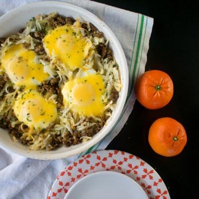 Sausage, Egg, & Cheese Hash Brown Skillet