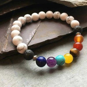 7 Chakras and Howlite Healing Bracelet