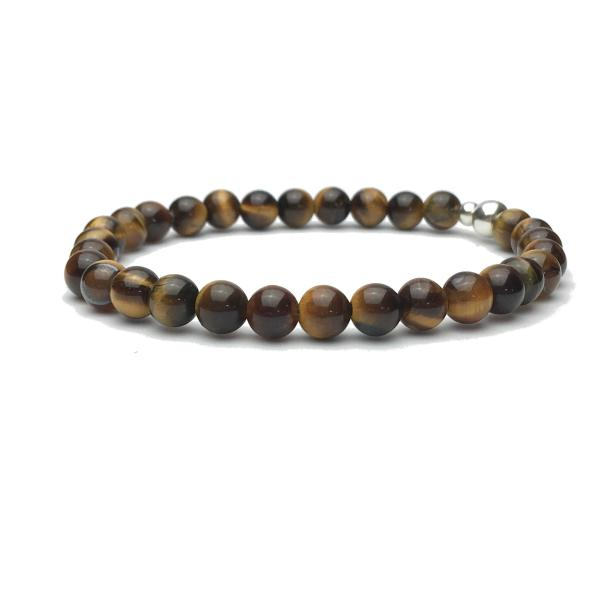 6mm Tigers Eye and Sterling Silver Bead Bracelet