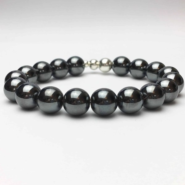 10mm Hematite and Silver Beaded Bracelet