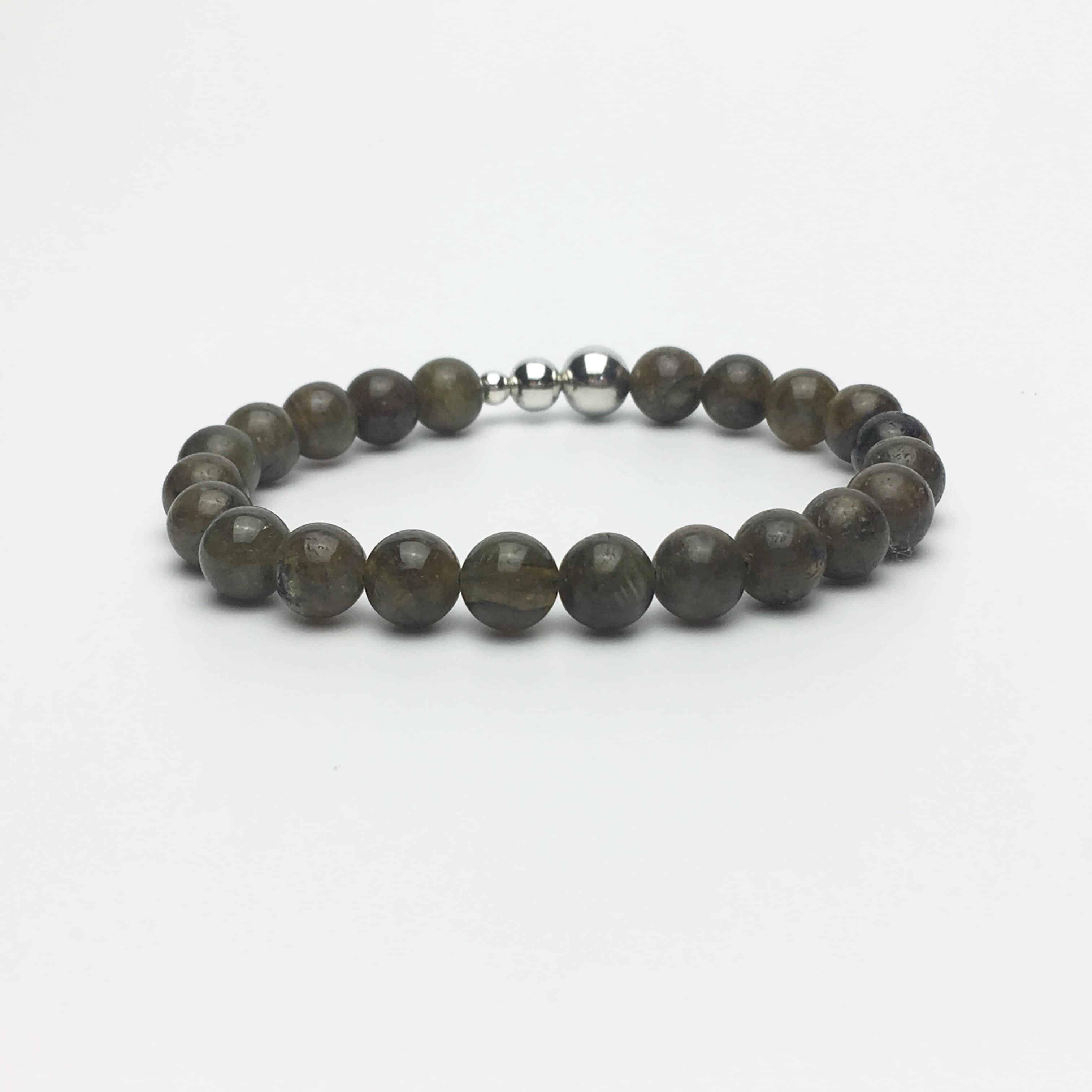 Labradorite and Sterling Silver Bead Bracelet
