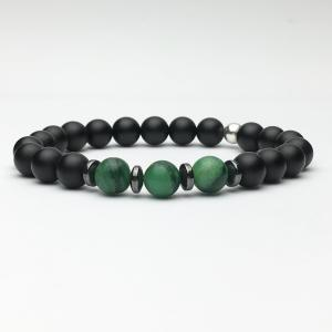 Onyx and Natural Green Jade Bracelet
