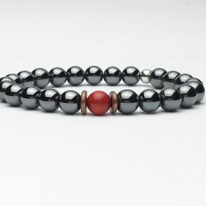 Red Coral and Hematite Bead Bracelet