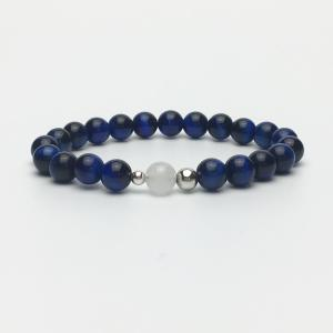 Blue Tigers Eye and White Jade Bead Bracelet