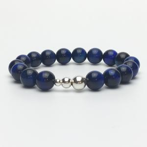 10mm Blue Tigers Eye and Silver Beaded Bracelet